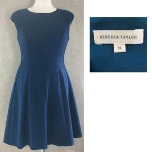 REBECCA TAYLOR Ponte Stretch Fit + Flare Dress